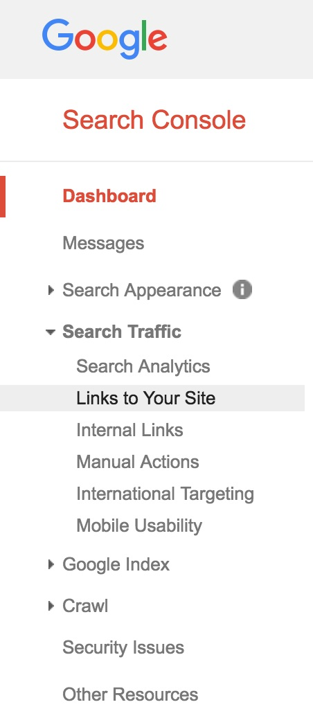 """Click """"Links to Your Site"""" in Google Search Console to find anchor text for external referrer traffic."""